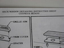 1964-72 CHEVELLE CAMARO IMPALA NOVA CHEVYII REAR DEFOGGER INSTRUCTION SHEET GM