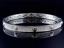 Unisex Sterling Silver Lab Diamond Designer Style Bangle In White Gold Finish