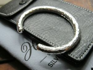 Quality Gents Hammered  Heavy Solid Sterling Silver Torque Bangle 70 + grams