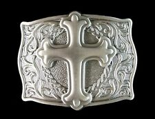 Western Decor  Engraved Raised Cross Pewter Buckle