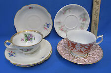 Mixed Lot 2 Tea Cups 5 Saucers Floral China Haas Czjzek Fred Roberts Limoges