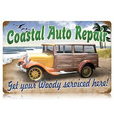 Coastal Auto Repair Woody Retro Risque Car Humor Tin Metal Steel Sign 18x12