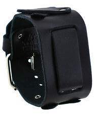 Nemesis XB-K Wide Black Cross Pattern Designed Leather Cuff Watch Band