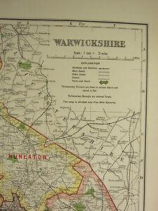 1920 COUNTY MAP of WARWICKSHIRE RUGBY LEAMINGTON TAMWORTH NENEATON BIRMINGHAM