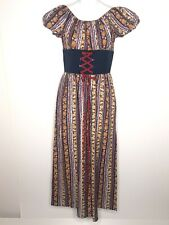 Vintage Handmade Peasant Maxi Dress Boho Cottagecore Country Ren Faire Hippie