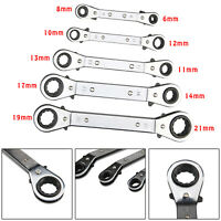 Metric 6-21MM Offset Ratchet Spanner Set/5 Pcs Ratchet Ring Wrench Spanners Tool