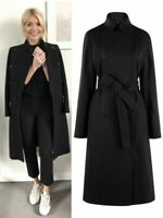 Karen Millen Black Belted Tailored Casual Classic Military Trench Wool Long Coat