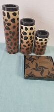 Gold Canyon Candles Leopard Ceramic Tealight Holders 3 RETIRED Candleholders NEW