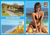Vintage Dorset Multi View Postcard Southbourne Fisherman's Walk Beach Cliff GW0