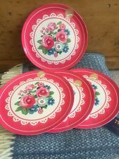 Blooming Beautiful 4 Pink Floral Flower Melamine Picnic Set Of Dinner Plates