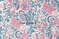 10 Yard Indian Hand Block Print Fabric 100% Cotton Natural Lotus Floral Fabric