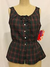 Jack Winter Plaid sleeveless top Size 16 with pearl buttons NWT