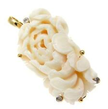 Genuino Natural Ángel ajustado blanco coral tallado colgante de Flor Potenciador