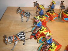 ZEBRA TOY Schylling wind up tin toy  w/cart & cowboy based on german gallop toy