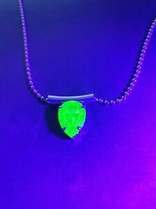 Fantastic Large Teardrop Uranium glass Pendant necklace