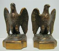 Antique Bronze-Clad Eagle Bookends Decorative Art Statues Figural Pair Birds