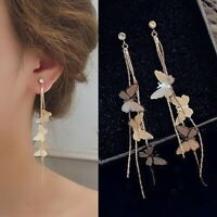 Gorgeous Shiny White Sapphire Butterfly Long Earring Gold Filled Wedding Jewelry