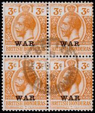 British Honduras Scott MR3 Block of 4 (1917) Used H F-VF M