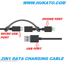Original Hukato 2in1 Micro Usb 8 pin Lightning Data Charging Cable For Nokia