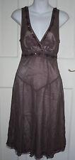 WOMENS TED BAKER Brown Silk/Polyester Formal Sleeveless Dress Size-1 UK-8/36