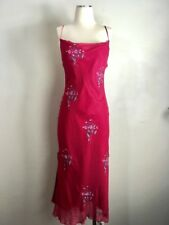 Betsey Johnson Vintage Embroidered Bias Cut Slip Dress 6 Silk Retro dresses Red