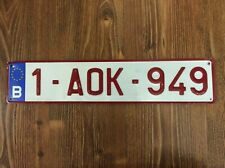 BELGIUM B LICENSE PLATE EUROPA 1-AOK-949