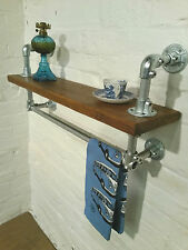 Compact Kitchen Pine Wood Galvanised Steel Pipe Industrial Bookcase SHELF & RAIL