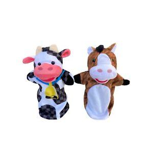 Melissa & Doug Farm Friends Hand Animal Puppets Cow Horse Set 2