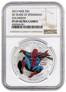 2013 Niue $2 Marvel Comics 50 Years of Spiderman 1oz .999 Silver Coin NGC PF69