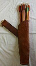 Vintage Leather Side/Belt Quiver & 2 Doz. Wood Target Arrows