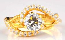 Real 14KT Yellow Gold 3.40 Carat Round Shape Solitaire Women's Anniversary Ring