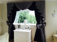 BLACK & GREY DESIGNER CURTAINS SWAGS AND TAILS