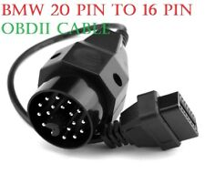 BMW 20 PIN TO 16 PIN OBDII OBD2 DIAGNOSTIC LEAD CABLE CONVERTER ADAPTOR UK