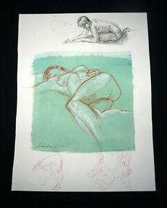 Hawaii Mixed Media Wash Painting Sleeping Female Nude Snowden Hodges (Sho)#116