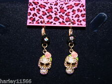 BETSEY JOHNSON EARRINGS CRYSTAL SKULL DROP  NWT RARE & HARD TO FIND! VERY COOL!