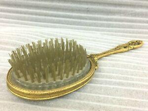 OLD VINTAGE UNIQUE GOLD TONE NYLON VANITY HAIR BRUSH / BRISTLES MADE IN USA