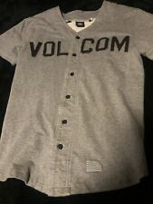 Volcom Baseball Jersey Style Button Front Men's Ss Shirt Gray Black Letters S