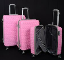 "Suitcase 4 Wheel Spinner Hard Shell Luggage Trolley Cabin Case 20"" 24"" 28"" Pink"