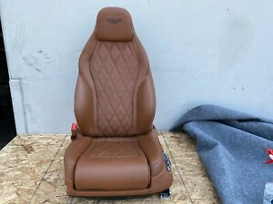 BENTLEY CONTINENTAL GT FRONT LEFT DRIVER SEAT COMPLETE LEATHER BROWN OEM (12-15)