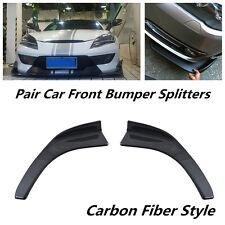 Pair Winglet Type Carbon Fiber Style ABS Car Front Bumper Lip Diffuser Splitters