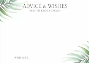 10 Advice & Wishes Bride & Groom Cards Bridal Hens Games 14.8cm x 10.5cm 280gsm