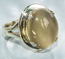 Sterling Silver Traditional Asian Vintage Style Dark Moonstone Ring Size P Gift