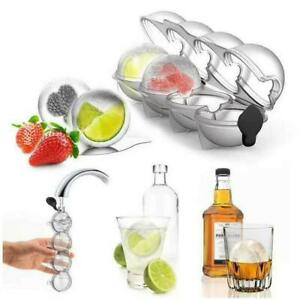 Bar Ice Cube 4 Ball Maker Molds Sphere Large Tray Whiskey DIY Silicone Moulds