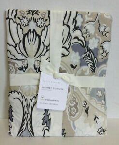Pottery Barn PB Celeste Print Neutral Cotton Shower Curtain Bath Bathroom 72x72