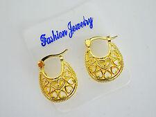 Gorgeous SMALL Heart Pattern Hoop Dangle Earrings in Gold Tone 2 cms drop