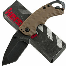 Kershaw Desert Tan Handle Shuffle II Linerlock Pocket Knife Blackwash Blade