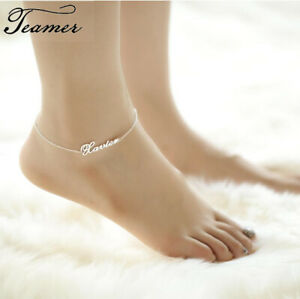 Hot Summer Personalized Custom Name Anklet Gold Steel Stainless Steel Jewelry