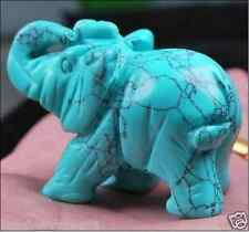 Green Turquoise Hand Carved Elephant,Crystal Healing,Gemstone Animal Figurine