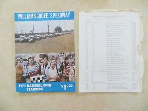 1971 Williams Grove Speedway National Open Sprint Car Souvenir Program + Line up