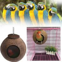 Natural Coconut Shell Bird Nest House Hut Cage Feeder Pet Parrot Parakeet